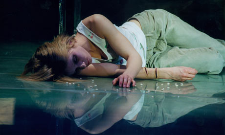 Magdalena Cielecka in Sarah Kane's 4.48 Psychosis at  the Barbican Theatre. Courtesy of The Guardian.