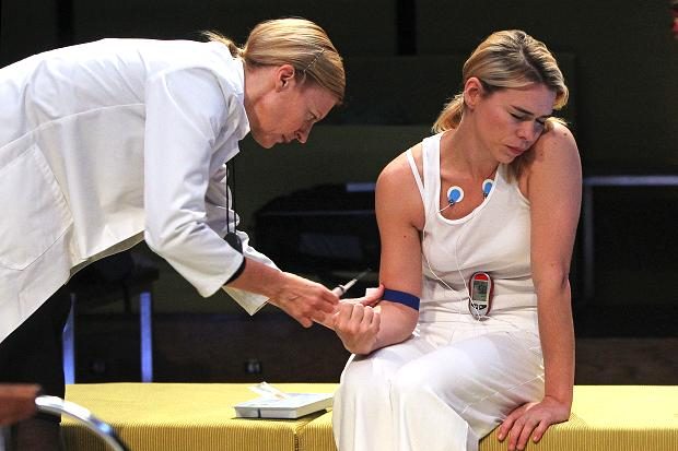 Billie Piper and Anastasia Hille in the National Theatre's The Effect. Courtesy of Marilyn Kingwell.